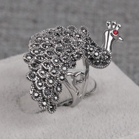 Vintage Micro Pave Copper Silver Plated Peacock Design Ring Wholesale