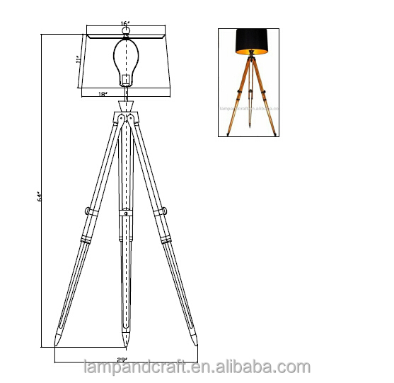 Saa New Product Natural Wooden Tripod Floor Lamp With Metal And ...