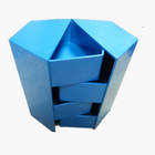 Blue hexagon shape 4 layers cardboard storage box for jewelry and small items