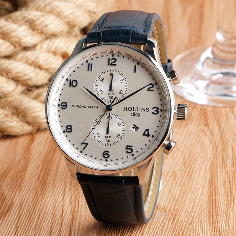 HOLUNS Original Mens Watches Luxury Brand Chronograph Men's Business Casual Leather Dress Calender Hour Clock Relogio Masculino 2017 2018 Best Gifts for Dad HIM (8)