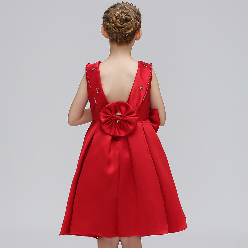 Wholesale Clothing Child Wear Girls Backless Beading Bridal Gown Kids Wedding Party Dress