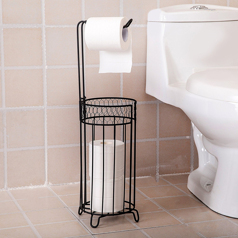 Get Quotations · Toilet Paper Roll Holder, Standing Bathroom Storage Basket  Rack, Black
