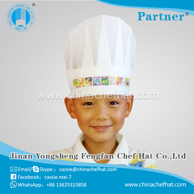 Child paper chef cap/disposable chef hat for cooking/paper hat 2017