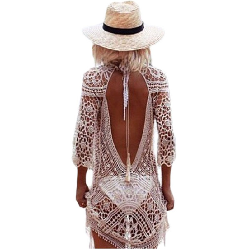 Summer Lace Crochet Beach Dress Women Swimwear Beachwear <strong>Bikini</strong> <strong>Cover</strong> <strong>Up</strong> Sexy Hollow Out Back Long Sleeve Mini Dresses v42144