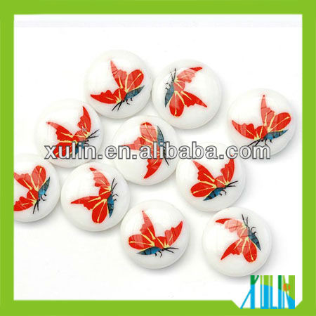 red butterfly pattern disk lampwork glass beads fit jewelry making
