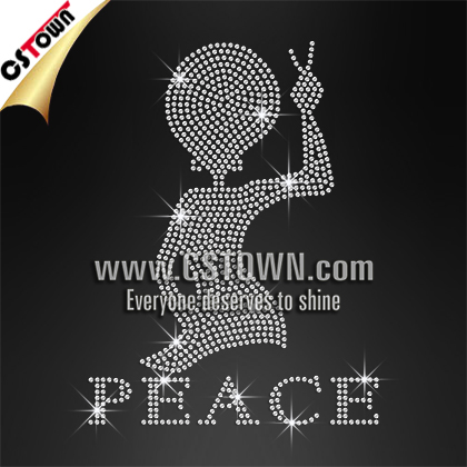 FREE sample peace lady with cute yeah geature t shirt rhinestone design custom applique