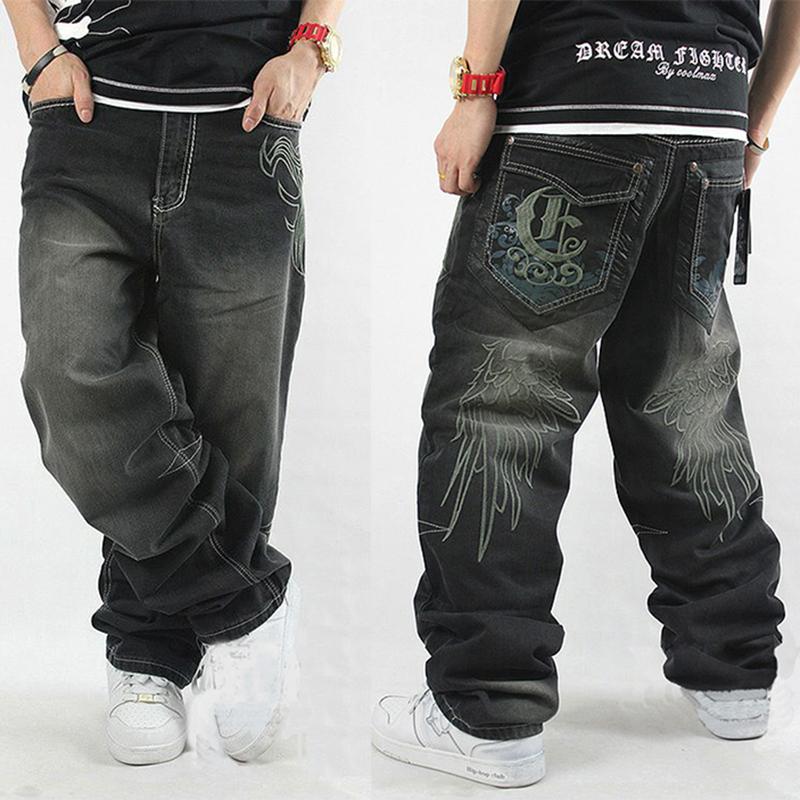 Men hiphop jeans black skateboard baggy style jeans hip ...