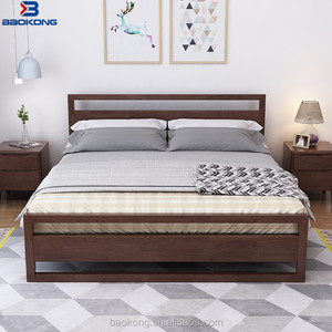 Dark Colour Walnut Wedding Bed For Young People Modern Solid Wood Bedroom Furntiure