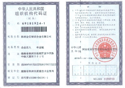 Organization Code Certificate of People's Republic of China