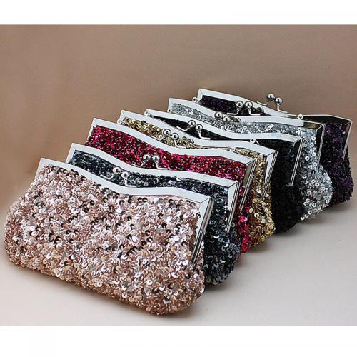 Satin Clutch Bag attached hanging strap Acrylic & Plastic Sequins & Zinc Alloy fish scale pattern 78267