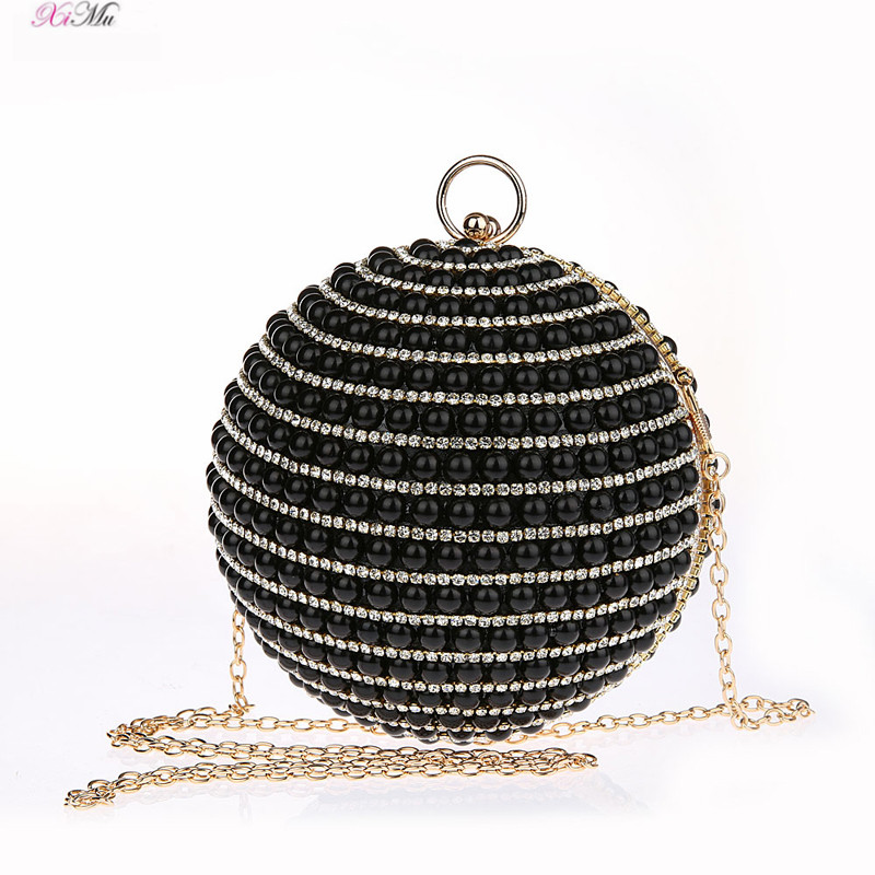 Designer Round Ball Shape Clutch Rhinestone Evening Party Handbag Crystal  Clutch Bags - Multicolored