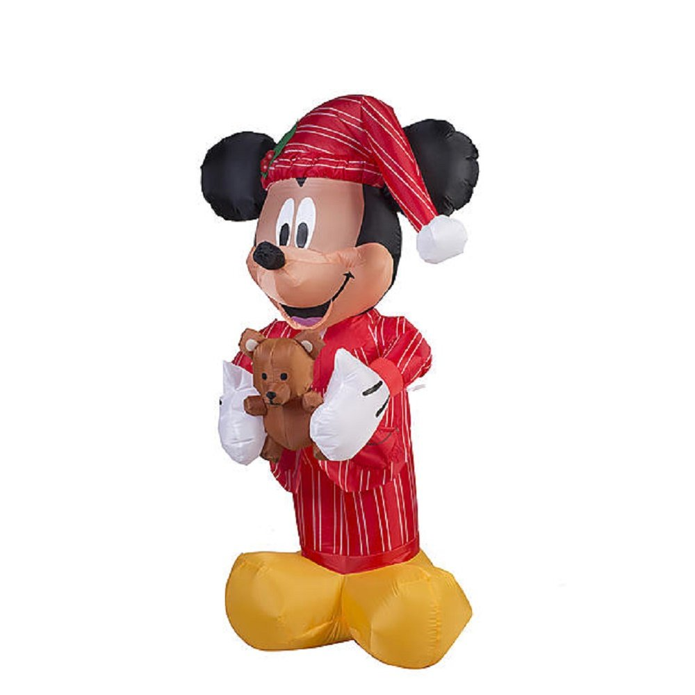 christmas inflatable disney 5 mickey mouse in pajamas holding teddy bear - Mickey Mouse Christmas Pajamas