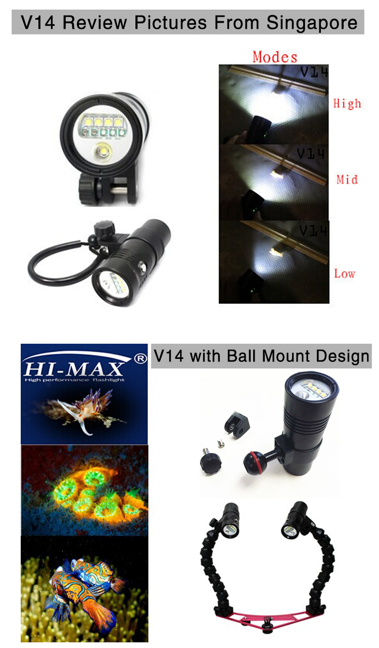 Scuba Torch 32650 Video Diving Light with ball head stand up to 100M torch scuba light