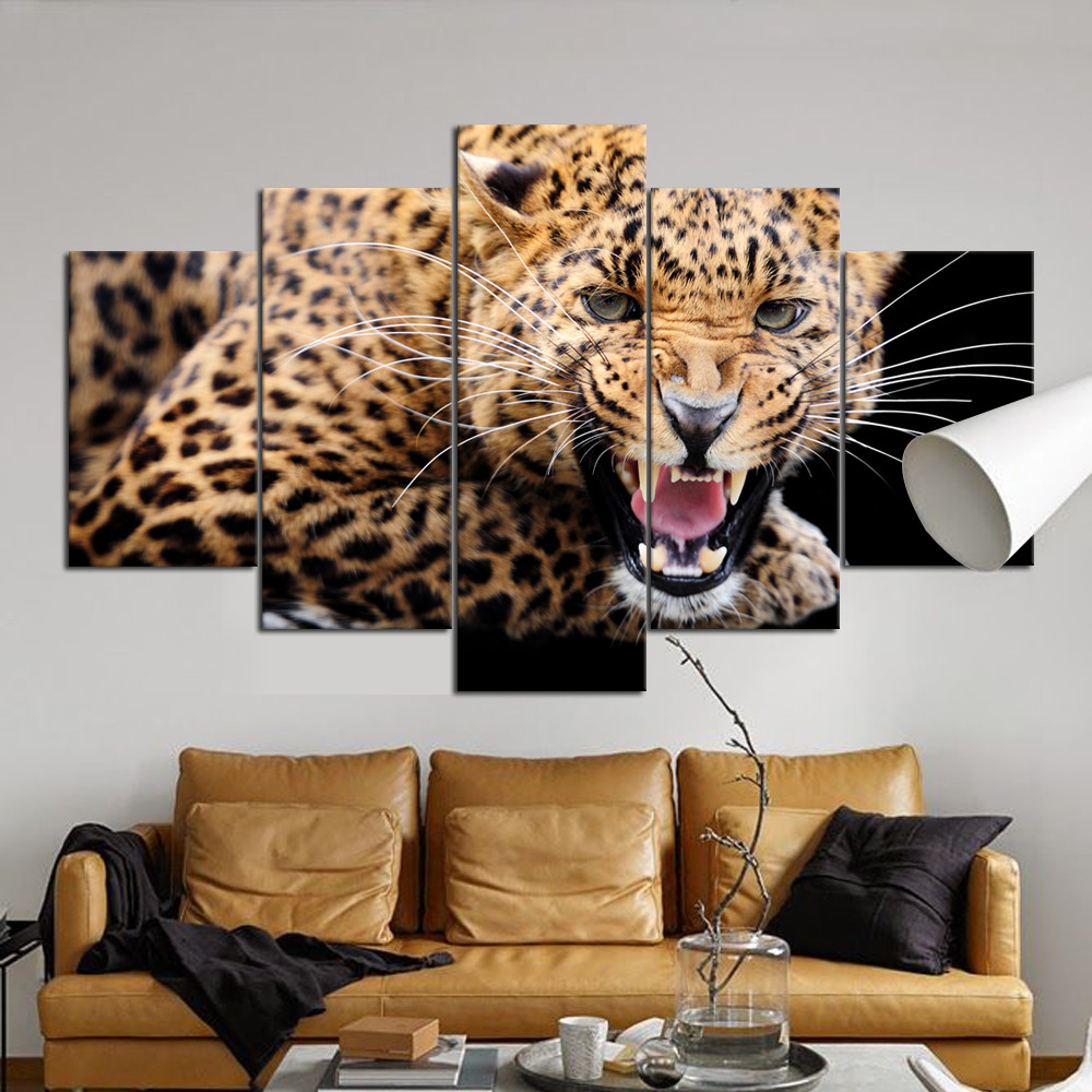 5 Panel Modern Wall Art Canvas Paintings Jaguar Animal Frame Picture Bedroom Hotel Decor Interior Decoration Wholesale RA0008