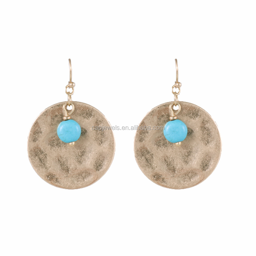 Alloy drop earring with round disc and antique finish