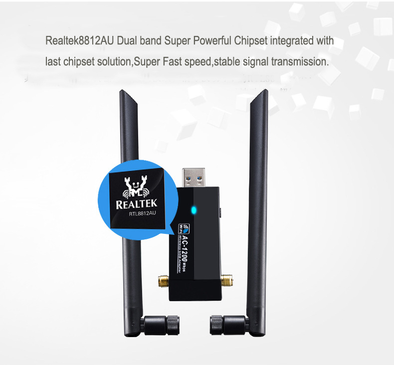 1200Mbps 802.11AC Dual band Gigabit wireless usb wifi adapter wifi dongle wifi reciever with 2pcs external antenna