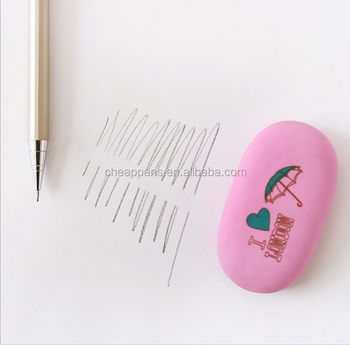 high quality office elliptical shape rubber eraser with beautiful printed