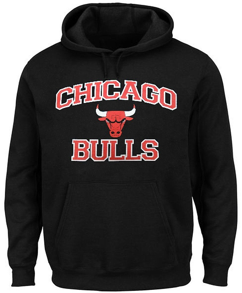 662b045aa91 Get Quotations · Chicago Bulls NBA Majestic Heart And Soul Mens Black Pullover  Hoodie Big   Tall Sizes