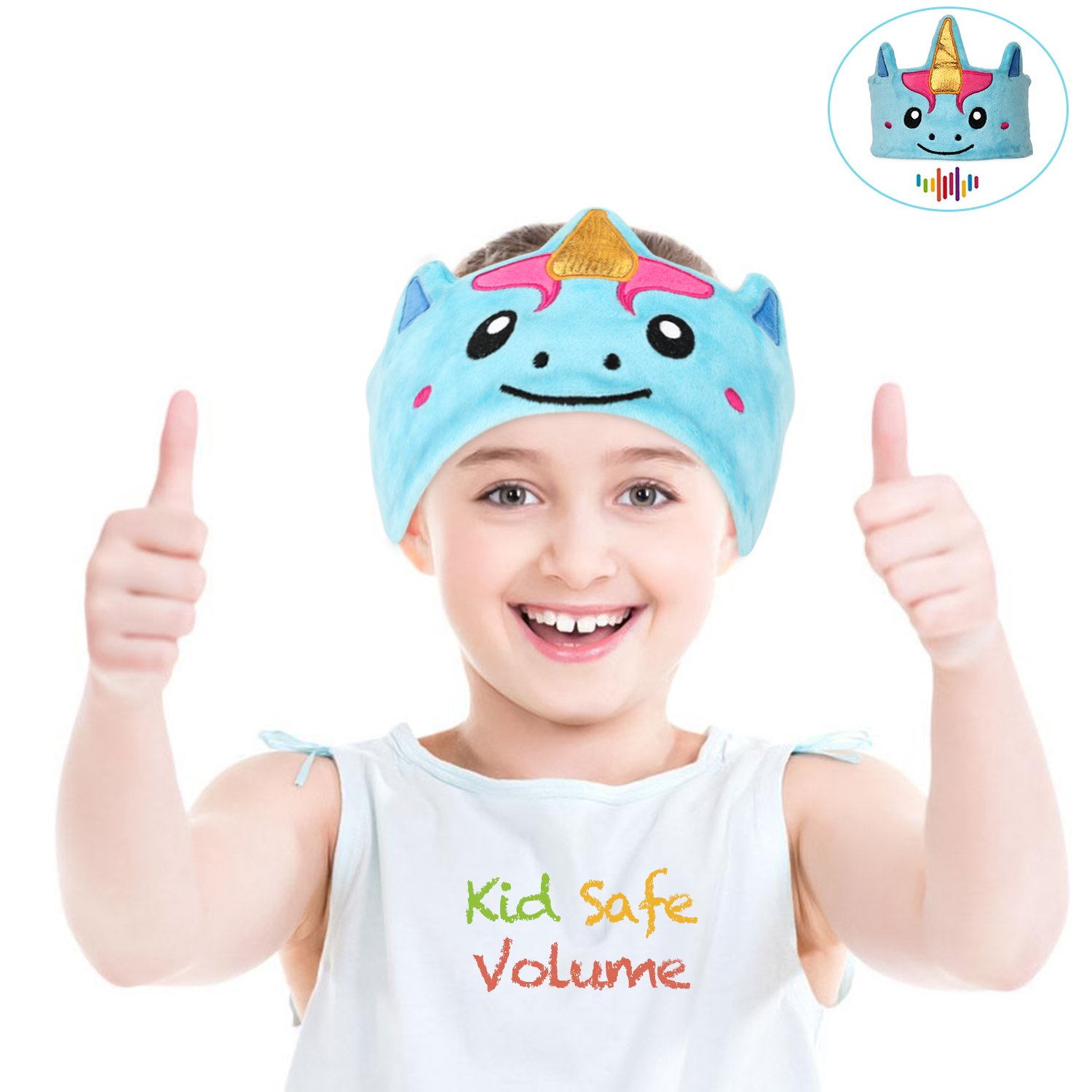 Satauko Kids headphones, Soft Fleece Unicorn Headband with Wired Headphones for Toddler, 85dB Volume Limiting for Children Headphones with Microphone, 3.5mm Aux Jack for iPad, Computers