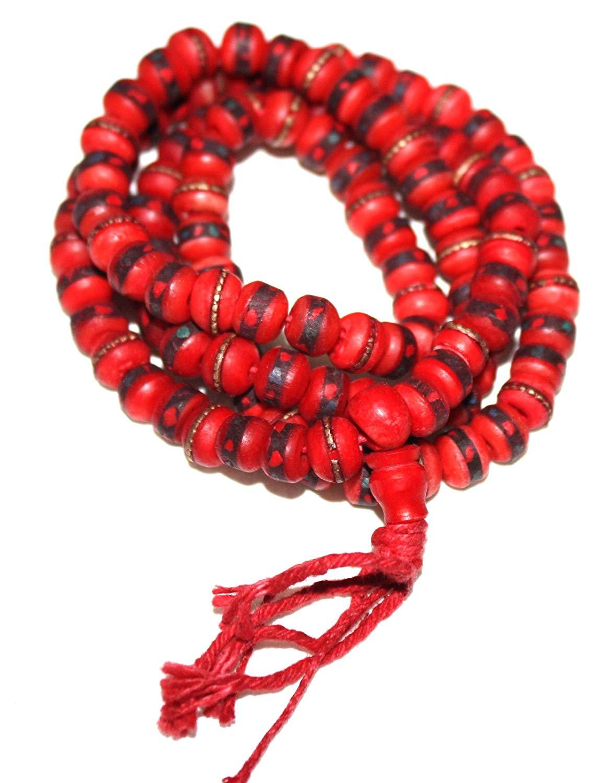 Red Tibetan Yak Bone Yogi Mala Yoga 108 Prayer Beads Mala