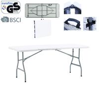 fold in half white granite table 6 feet plastic