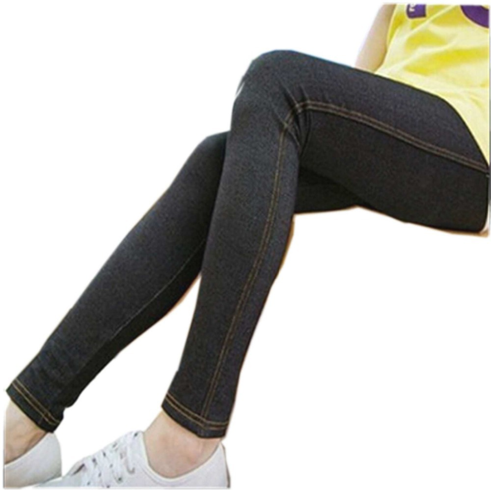 1ccabb9a757 Plus Size Jeggings Jean for Women Women s Faux Denim Black High Waisted  jeggings Stretchy Fashion Capri