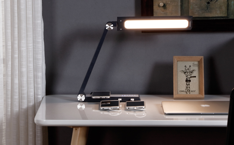Brightness Adjustable Office LED Desk Lamp with USB Charging Port Qi Wireless Charger Touch Control 36 Color Modes