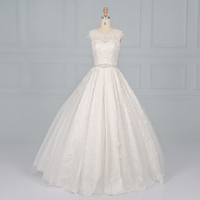 T5102 Crystal White Sleeveless Beaded Lace Applique Backless Bridal Wedding Dress Ball Gown with Belt