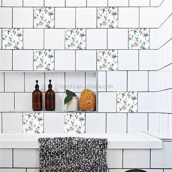 white magnolia tiles stickers oil proof wallpaper stickers kitchen