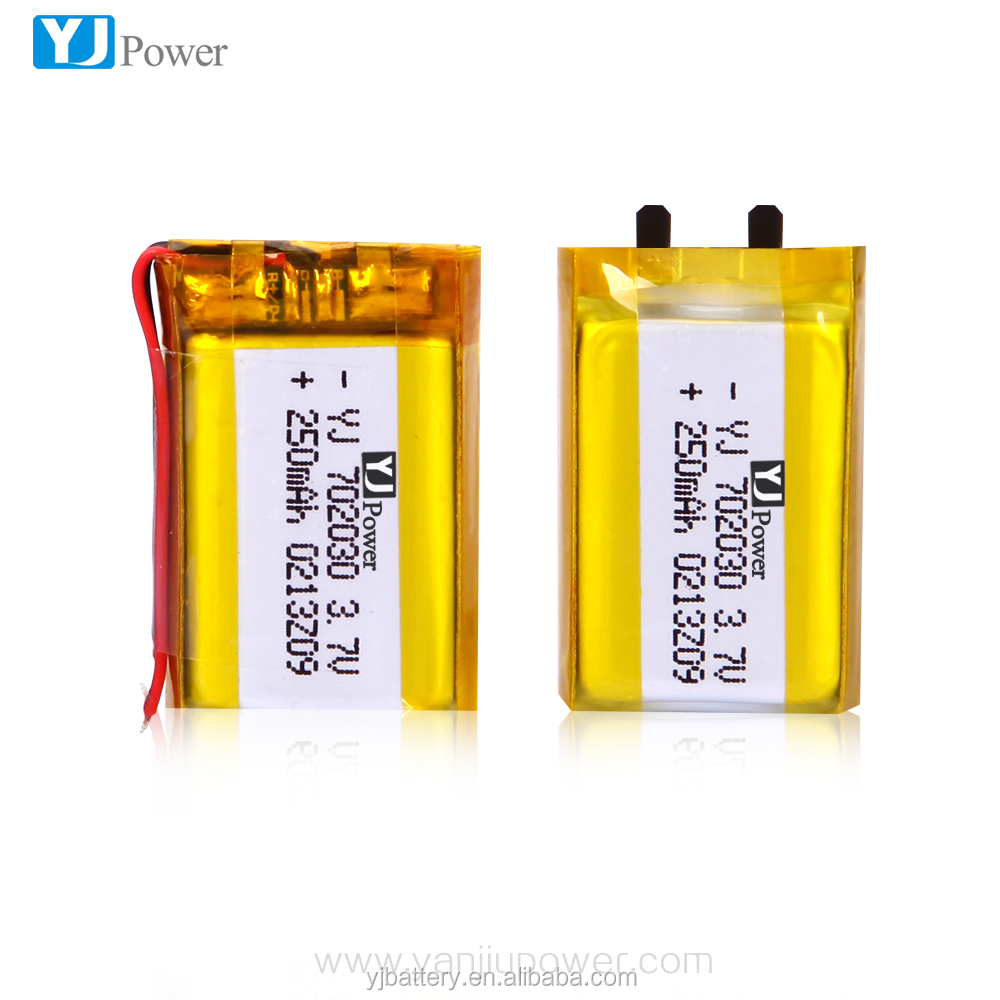 Rechargeable 3.7V 250mAh Lithium Polymer Battery 702030 for for bluetooth headset