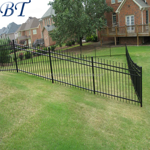 Hot sale best price American type 3 rails different top steel picket fencing