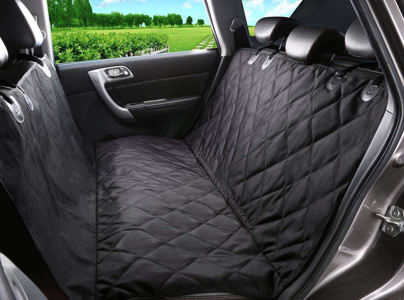 Dtemple Pet Dog Back Seat Cover Non-Slip Car Seat Protector Waterproof Padded Quilted Convertible Hammock (L57.72 x W53.04 inch, Black) – US Stock