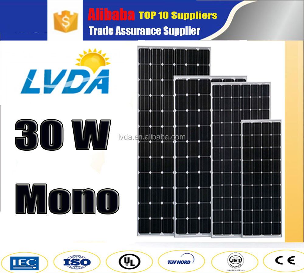 European 1kw solar panel 30w mono solar panel pv solar panel price hot selling
