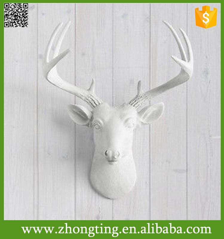 Wall Charmers Deer in White Faux Head Fake Ceramic animal heads on the wall