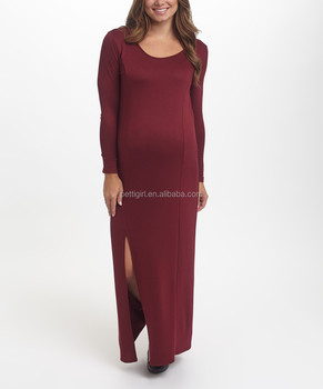 086d3990a8c0a Newest Maternity Dresses With Burgundy Maternity Side-Slit Maxi Dress  Fashion Women Clothing WD80817-