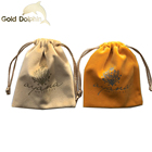Custom Silk Printed gold foil drawstring velvet Suede Jewelry Pouch Bag With Logo