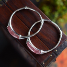 Ancient Style Bamboo Shaped Silver Bangle Natural Strawberry Colored Rose Quartz Simple Cuff Bracelet