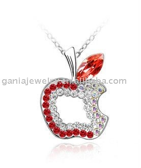 China Manufacturer Hot Sale Apple Pendant Necklace with Full Crystal