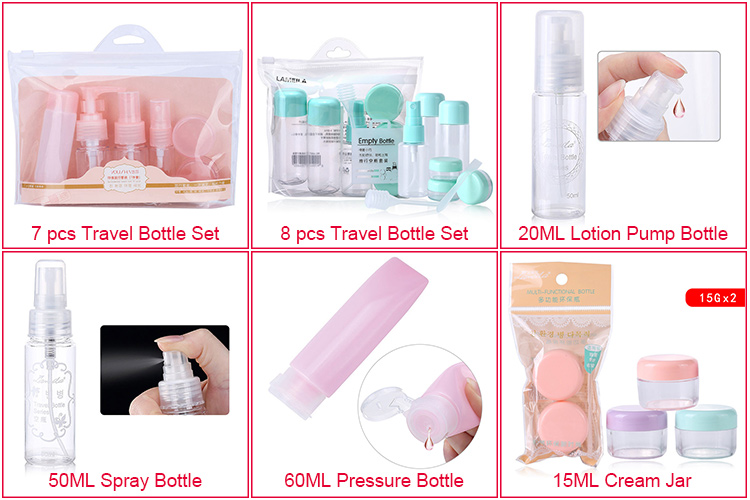 a1078ee34776 Oem Custom Travel Cosmetic Packaging Bottle Set Wholesale 7pcs Pet Plastic  Travel Bottle Kit - Buy Travel Bottle Kit,Cosmetic Packaging Bottle,Travel  ...