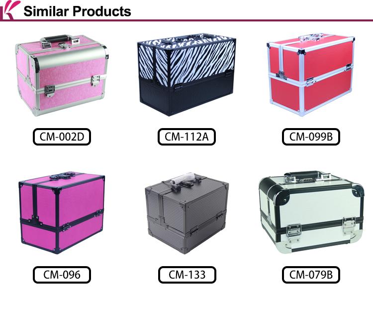 FOSHAN Factory OEM custom logo luxury aluminum 4 Tiers Multi-Functional Pink Professional ladies Beauty Box Makeup Vanity Case