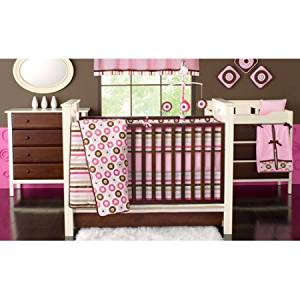 Bacati Mod Dots And Stripes Pink Chocolate S 10pc Nursery In A