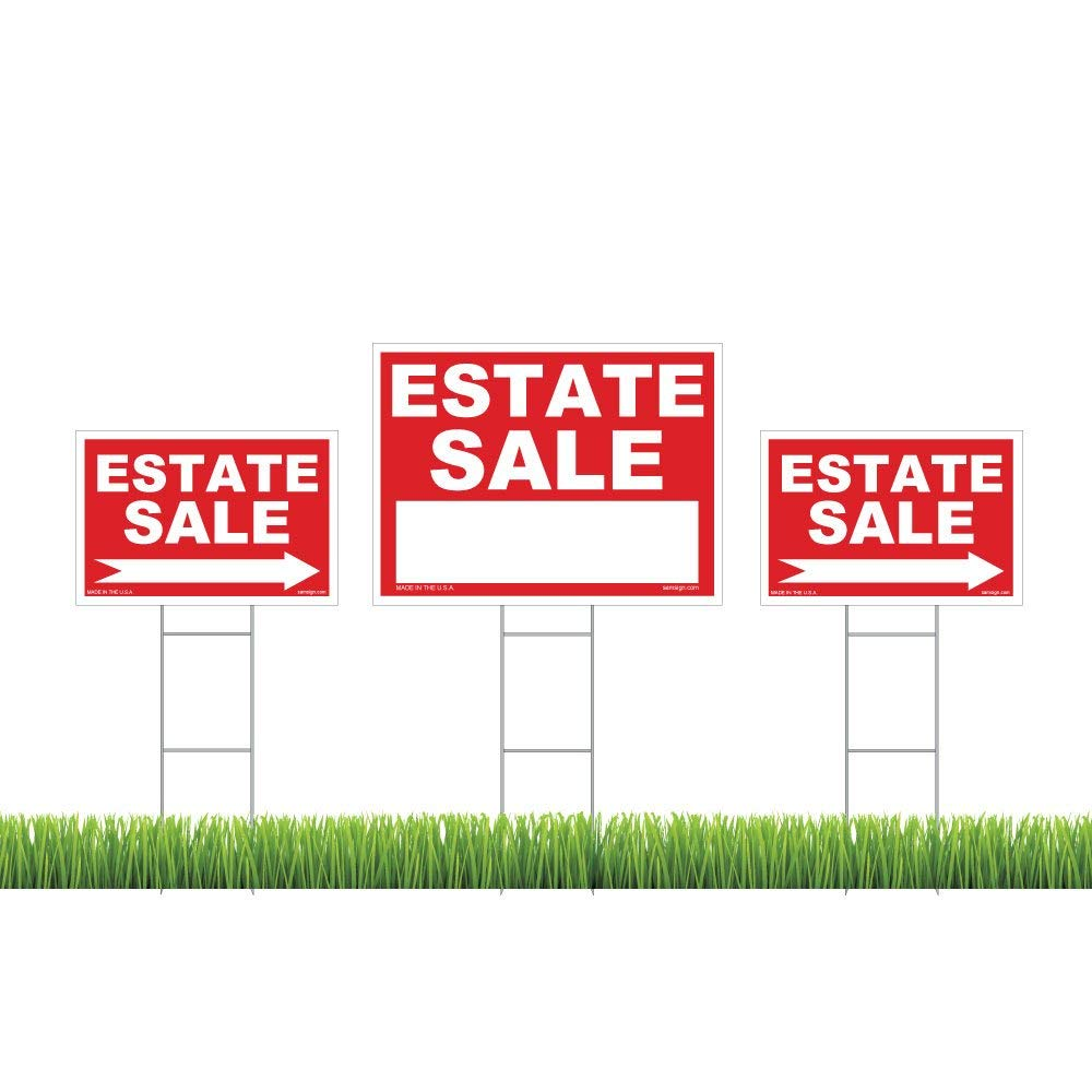 """3-Pack Estate Sale Sign Kit - Double Sided Signs & With H-Stakes - Red Property Signs 18"""" X 24"""" and 12"""" X 18"""" - High Visibility Signs with Directional Arrows – Weatherproof & Tear proof"""