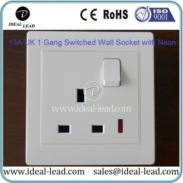 13A UK 1 Gang Switched Wall Socket with Neon
