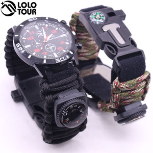 Low MOQ Multifunction Outdoor Survival Gear 550 Paracord Bracelet with Compass ,Fire Starter, Whistle