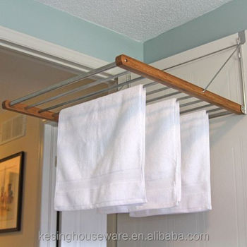 Beau Fold Away Bamboo Over Door Drying Rack/Overdoor Hanger