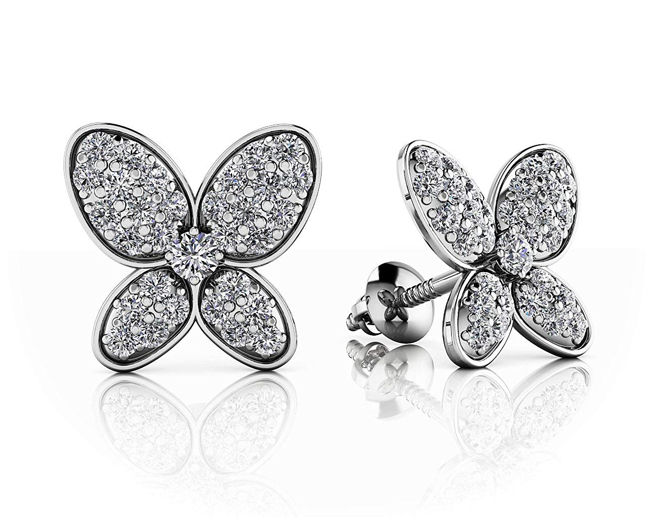 3541a4dbc Get Quotations · Silvercz Jewels 14K White Gold Fn Pave Set 0.51 Ct Sim Diamond  Butterfly Stud Earrings For