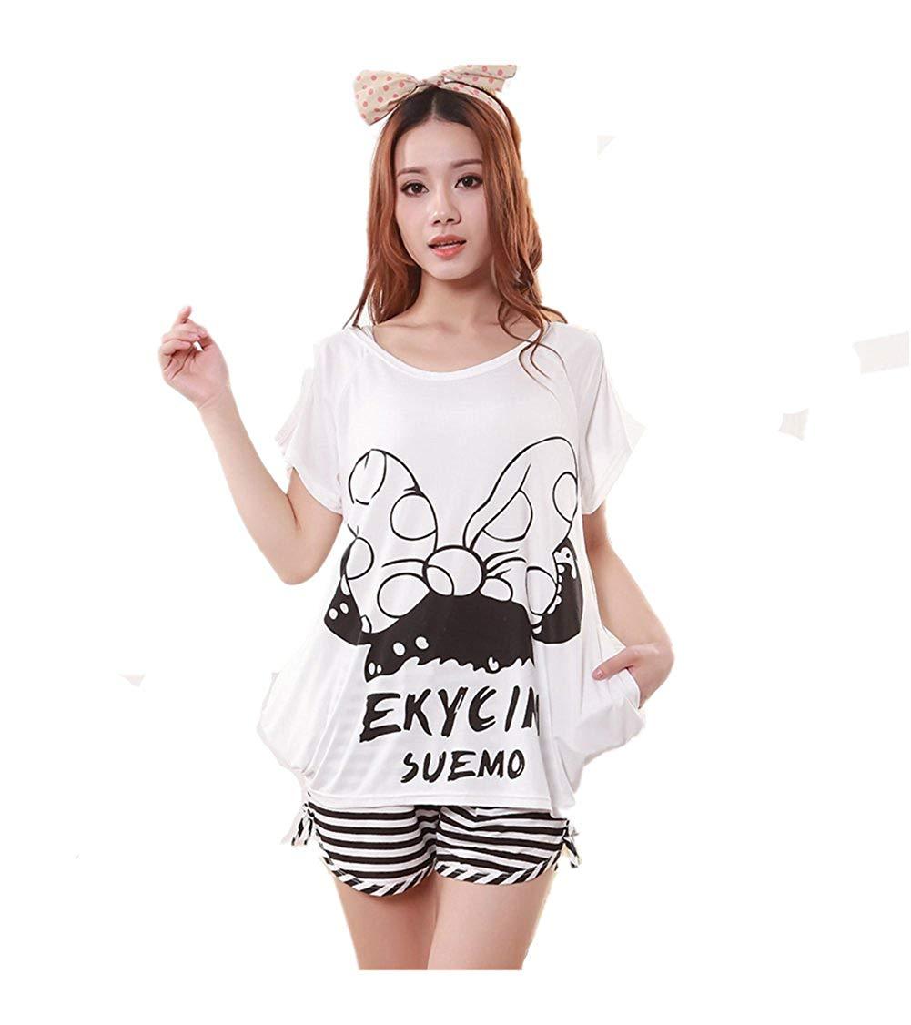 eb5ac59950e Get Quotations · AE Women Sleepwear Big Bowknot Loose Women Sleepwear  Pajama Set Nightwear Shirt   Shorts ...