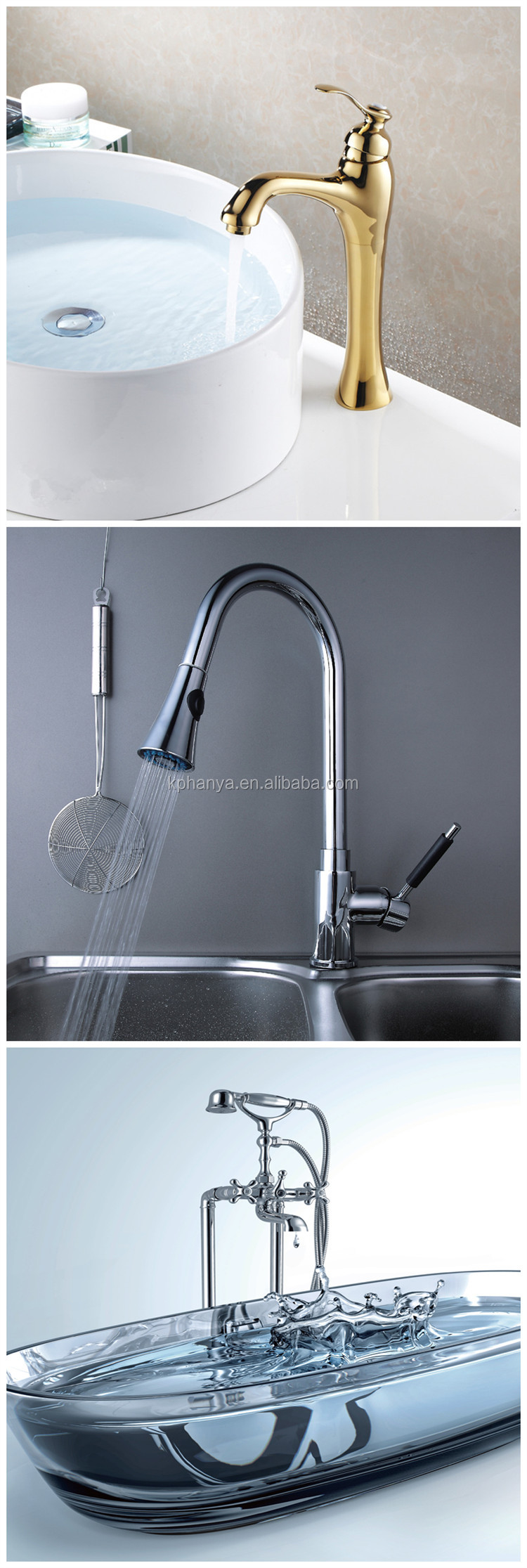 Waterfall Bathroom Marble Stone Vessel Sink Faucet Gold Plated Bath Mixer Tap