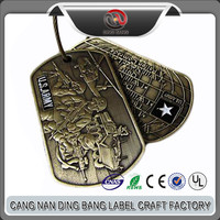 Professional OEM Items Custom Zinc Alloy Brushed Bronze Plated Soft Enamel Military USA Souvenir Dog Tag