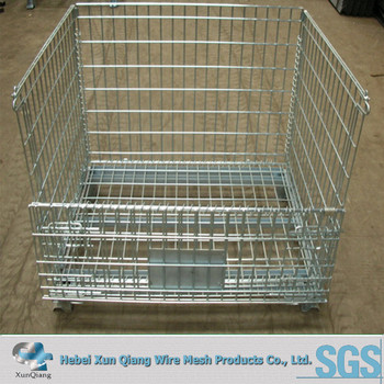 Mesh Crate Storage Bin Wire Mesh Container Cage With Removable Shelf Bracket